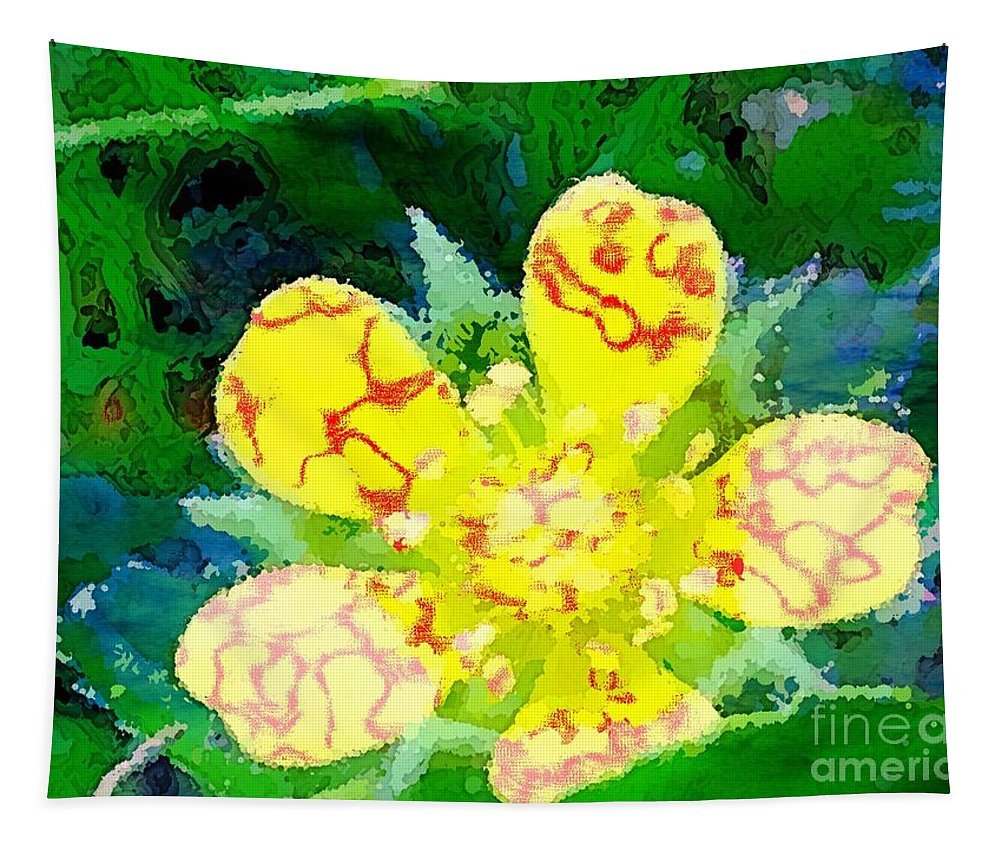 Wild Tapestry featuring the photograph Abstract Of A Wild Buttercup Flower by Debra Lynch