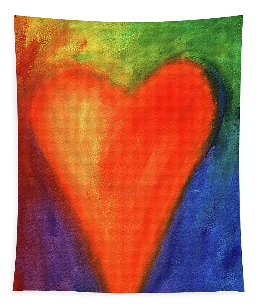 Painting Tapestry featuring the painting Abstract Orange Heart 1 by Karen Kaspar
