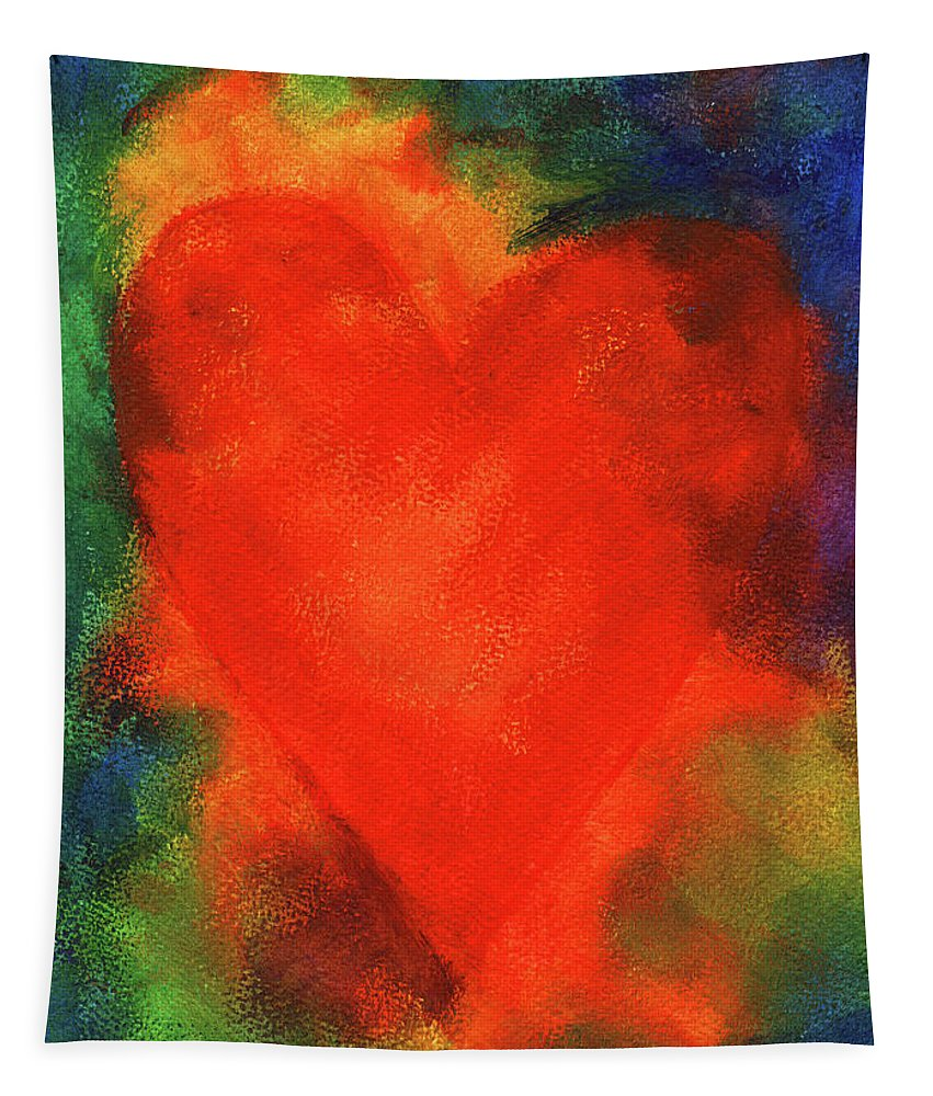 Painting Tapestry featuring the painting Abstract Orange Heart 2 by Karen Kaspar