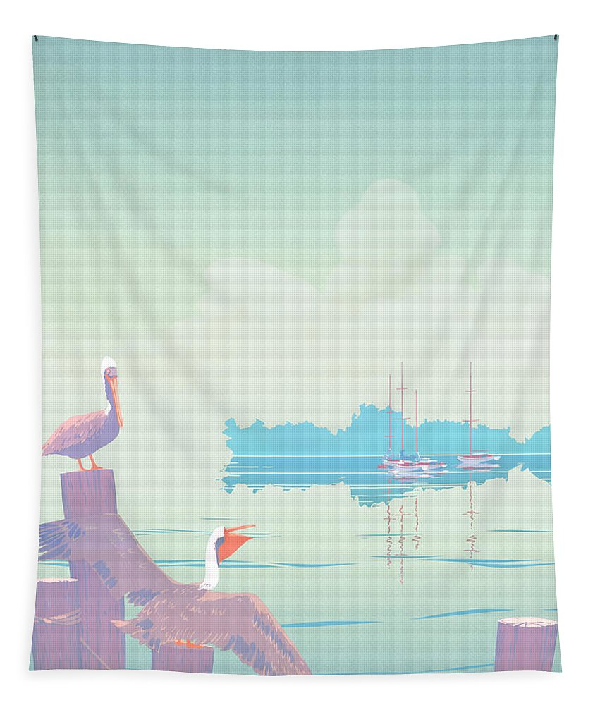 Abstract Tapestry featuring the painting Abstract Pelicans Tropical Florida Seascape Sailboats Large Pop Art Nouveau 1980s Stylized Painting by Walt Curlee
