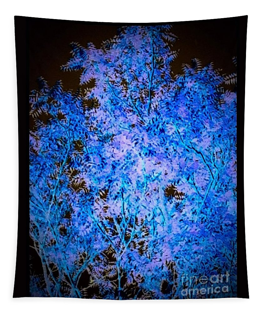 Tree Tapestry featuring the photograph Abstract Pf Tree In Blue And Black by Debra Lynch