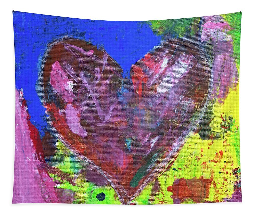 Painting Tapestry featuring the painting Abstract Red Heart Acrylic Painting by Karen Kaspar