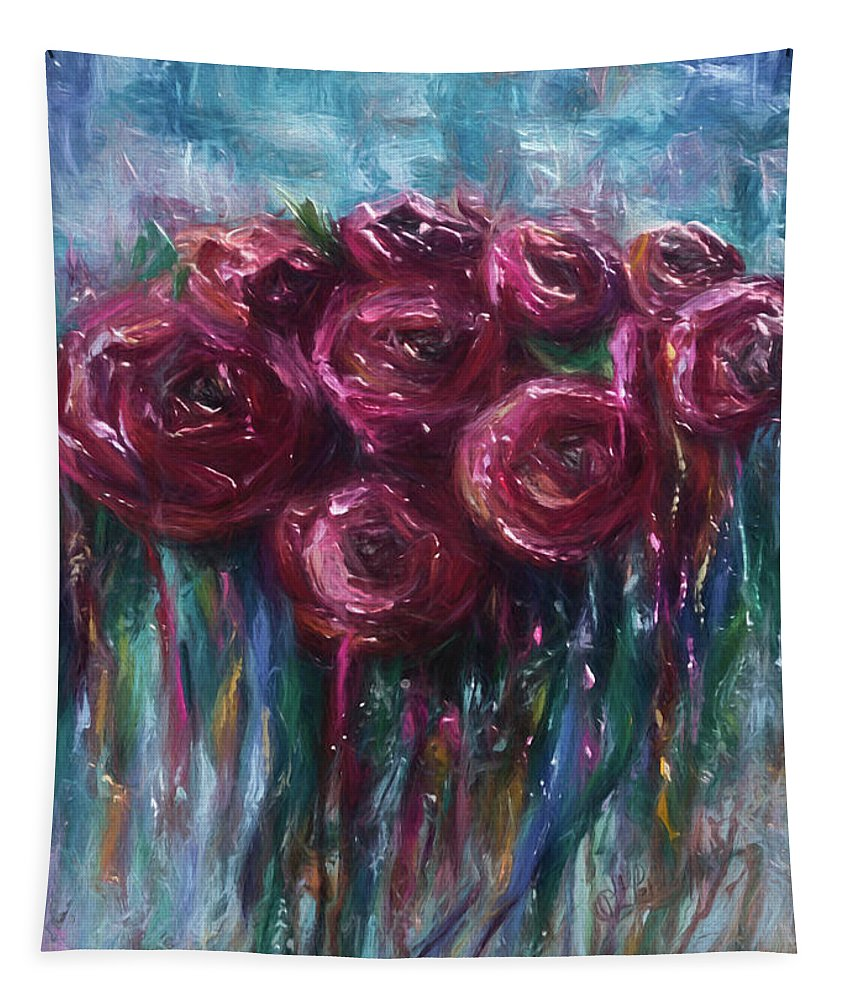 Modern Tapestry featuring the digital art Abstract Roses by OLena Art Brand