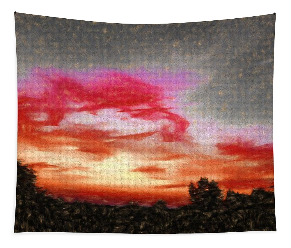Sunset Tapestry featuring the digital art Abstract Sunset by Debra Lynch
