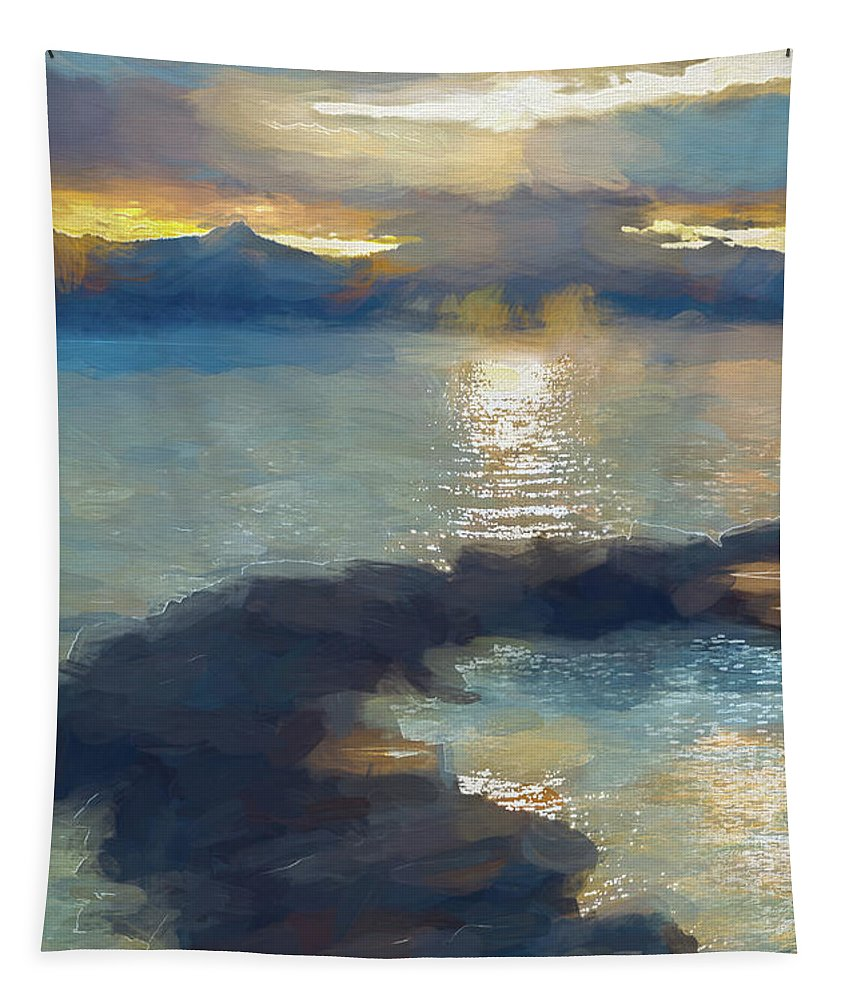 Photography Tapestry featuring the digital art Abstract Tahoe by Terry Davis