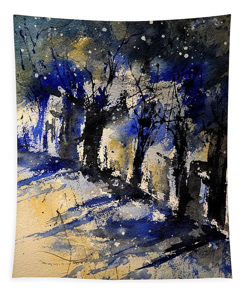 Abstract Tapestry featuring the painting Abstract Trees by Pol Ledent