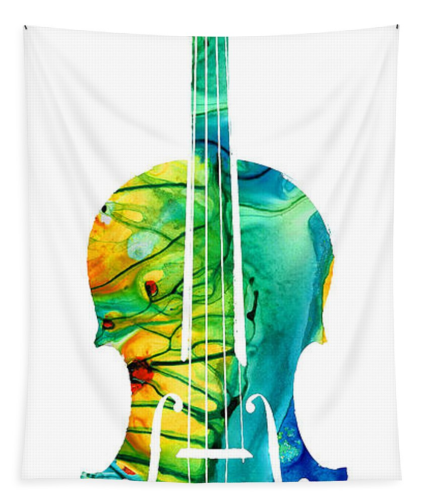 Violin Tapestry featuring the painting Abstract Violin Art By Sharon Cummings by Sharon Cummings