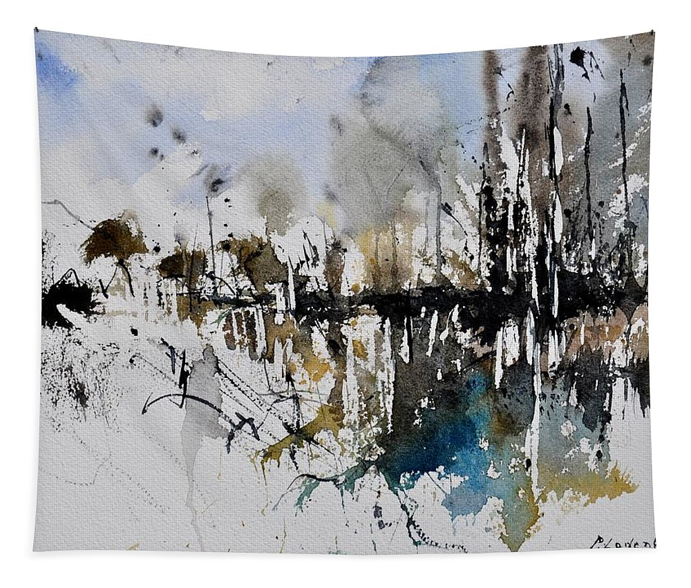 Abstract Tapestry featuring the painting Abstract Watercolor 012130 by Pol Ledent