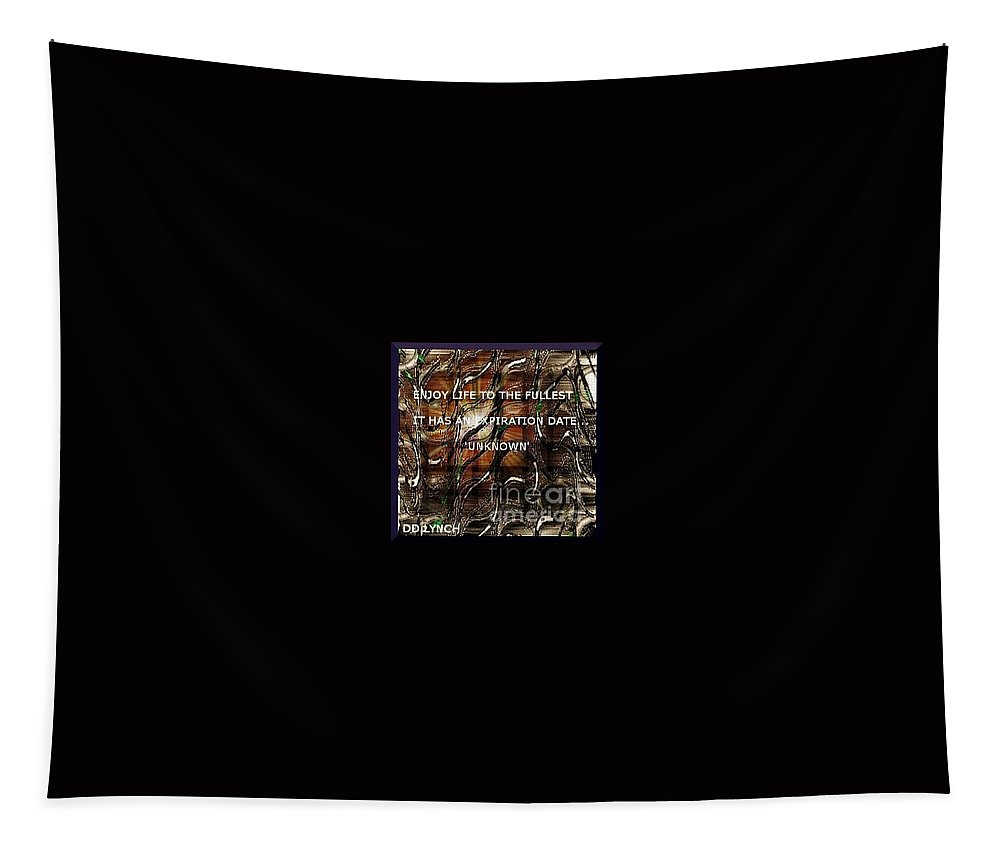 Gold Tapestry featuring the digital art Abstract With Quote by Debra Lynch