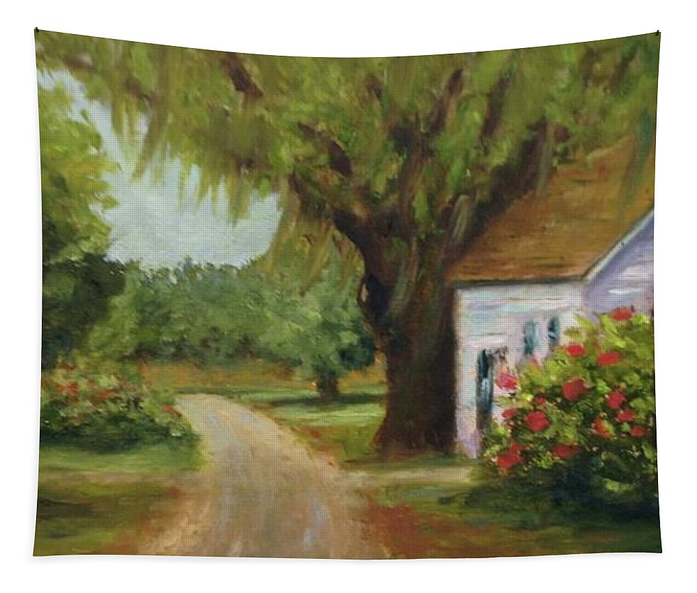 This Is A Little Out Building Off Of Grove Plantation Home At Ace Basin Close To Charleston Tapestry featuring the painting Ace Basin Cottage by Rosie Phillips
