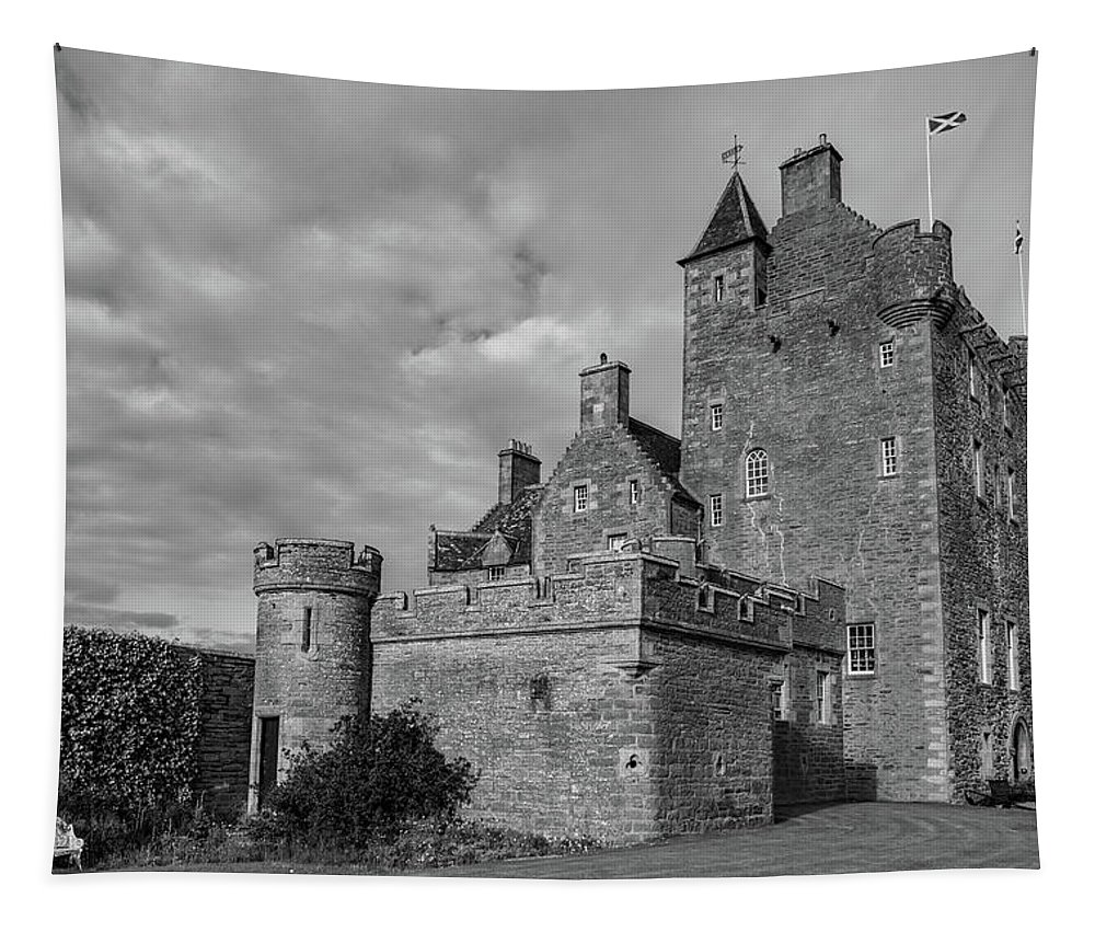 Ackergil Tower Tapestry featuring the photograph Ackergill Tower 1119 Bw by Teresa Wilson