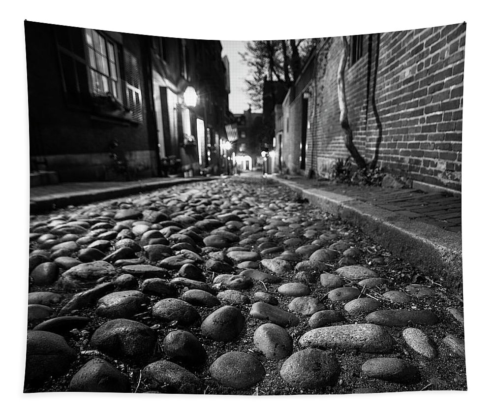 Boston Tapestry featuring the photograph Acorn Street Cobblestone Detail Boston Ma Black And White by Toby McGuire