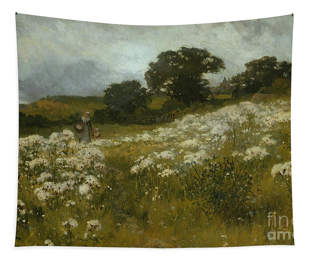 Across The Fields (oil On Canvas) By John Mallord Bromley (1862-1940) Tapestry featuring the painting Across The Fields by John Mallord Bromley