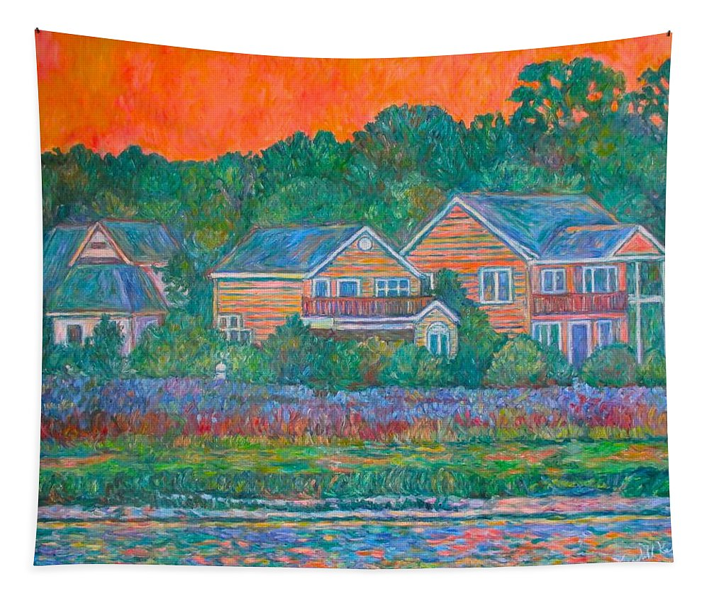 Landscape Tapestry featuring the painting Across the Marsh at Pawleys Island    by Kendall Kessler