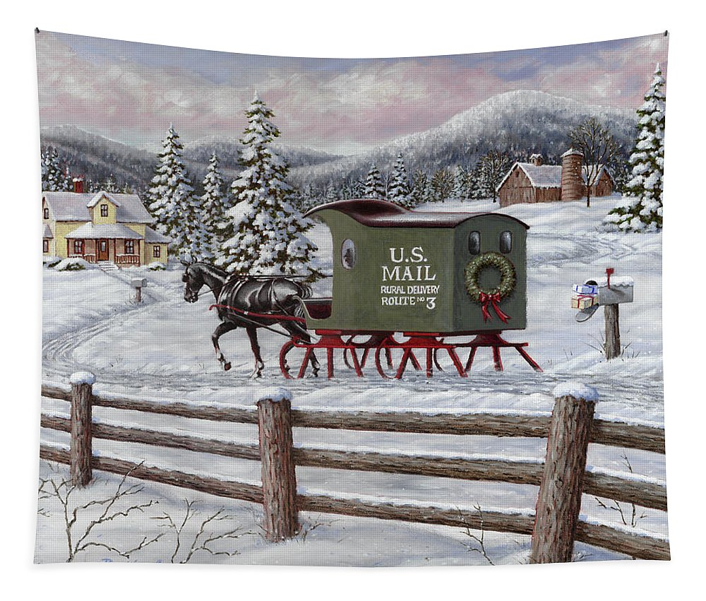 Horse Tapestry featuring the painting Across The Miles by Richard De Wolfe