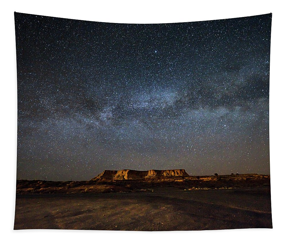 Night Sky Tapestry featuring the photograph Across The Universe - Milky Way Galaxy Over Mesa In Arizona by Southern Plains Photography