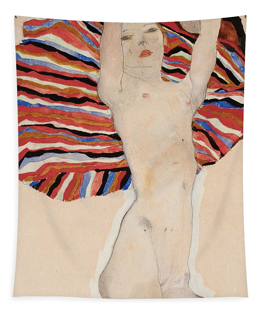 Egon Tapestry featuring the painting Act Against Colored Material by Egon Schiele