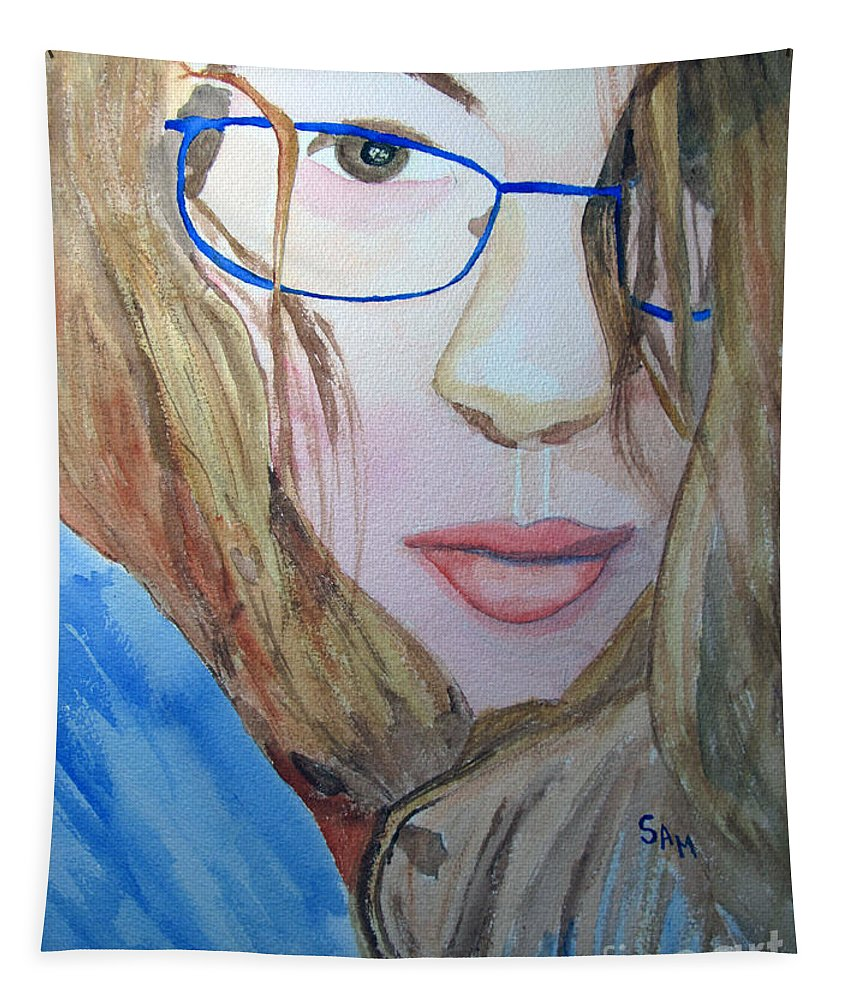 Addie Tapestry featuring the painting Addie In Blue by Sandy McIntire