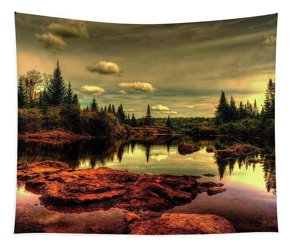 Adirondack Tapestry featuring the photograph Adirondack Inlet by Tony Beaver