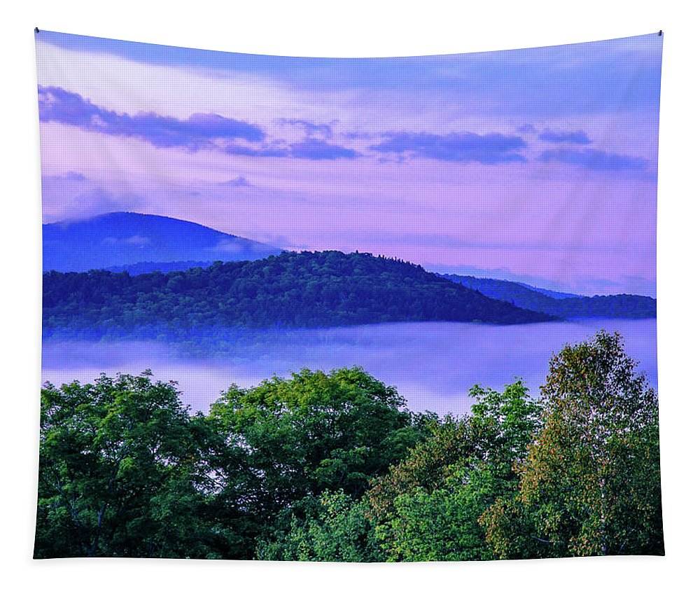 Adirondack Mountains Tapestry featuring the photograph Adirondack Mountains In Fog by Tony Beaver