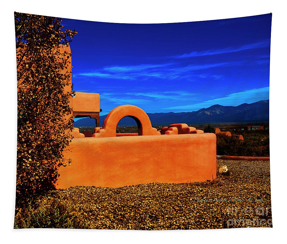 Santa Tapestry featuring the photograph Adobe At Sunset by Charles Muhle