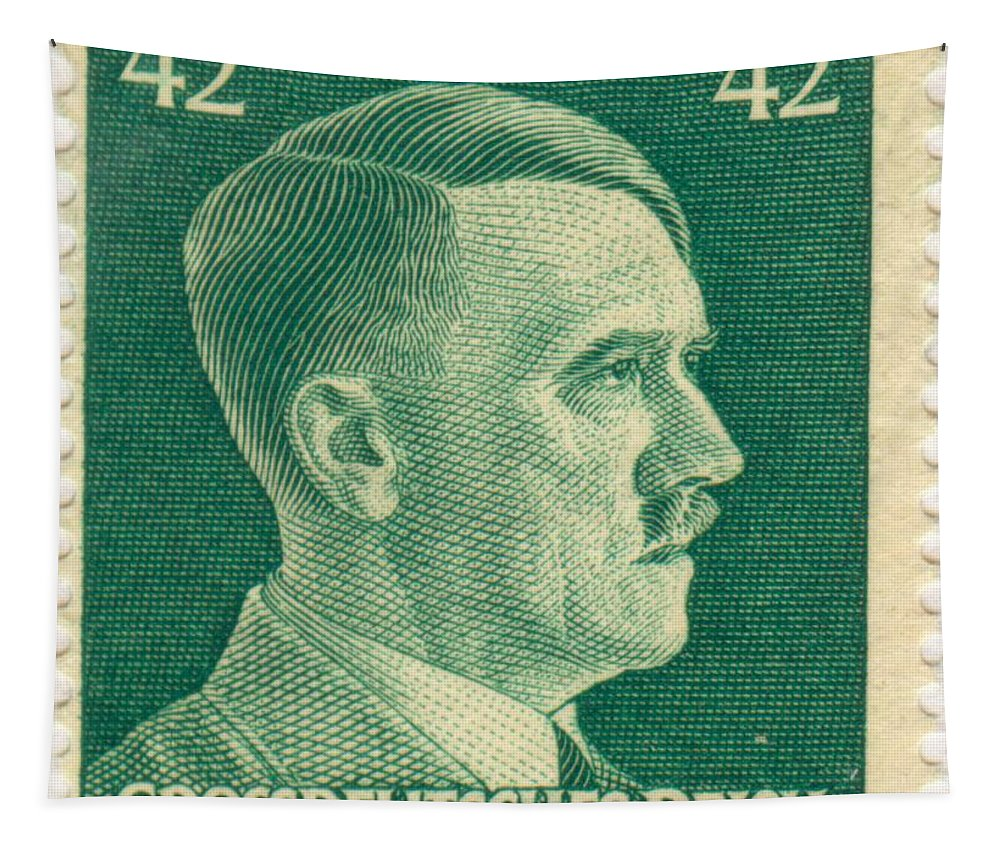 Adolf Hitler 42 Pfennig Stamp Classic Vintage Retro Tapestry featuring the painting Adolf Hitler 42 Pfennig Stamp Classic Vintage Retro by R Muirhead Art