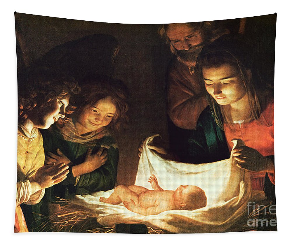 Adoration Of The Baby Tapestry featuring the painting Adoration Of The Baby by Gerrit van Honthorst