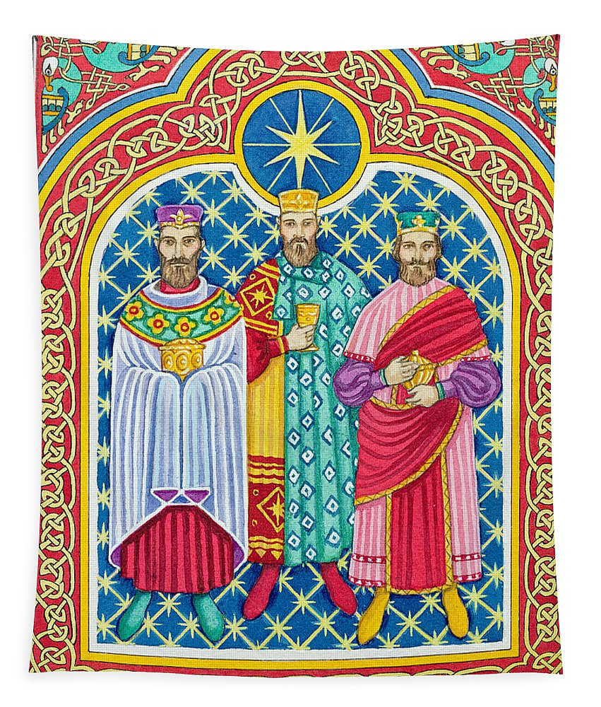 Adoration Of The Magi (w/c) Three Wise Men; Celtic Tapestry featuring the painting Adoration Of The Magi by Lavinia Hamer