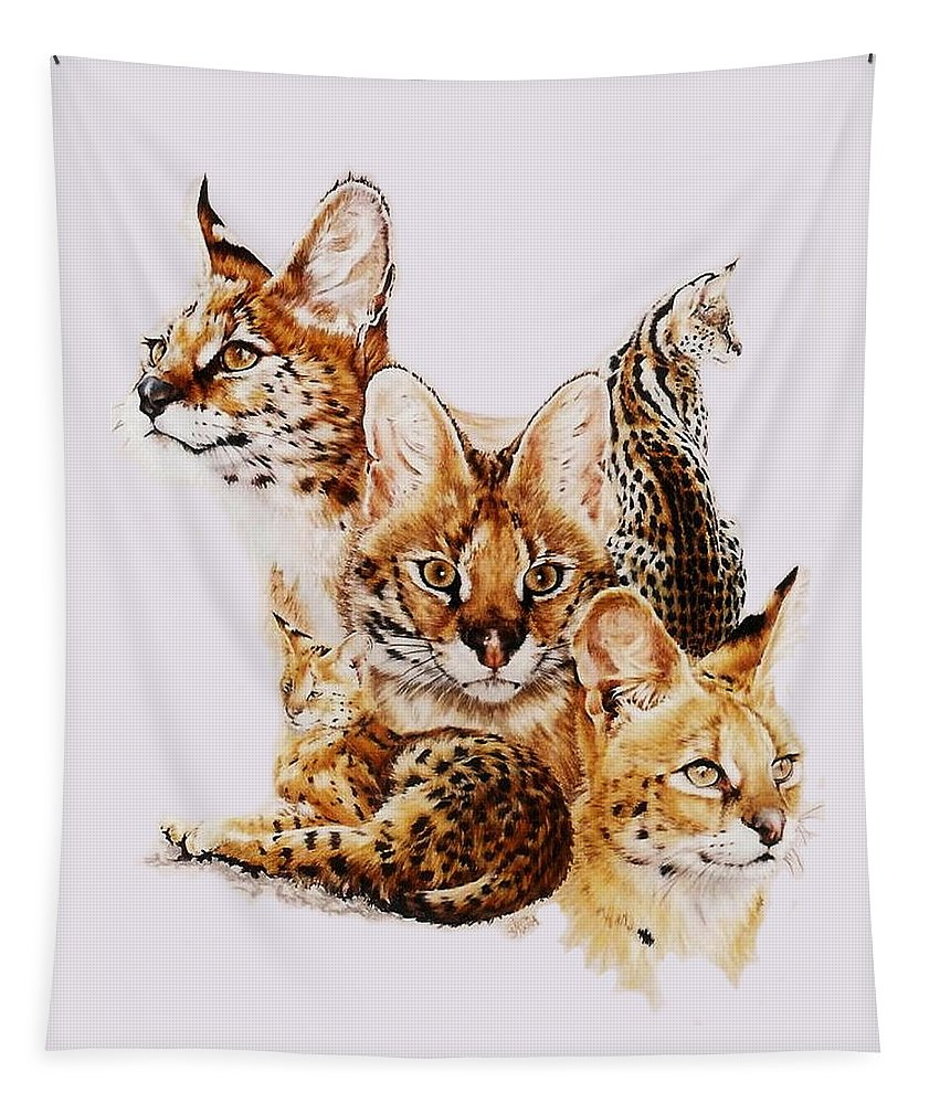 Serval Tapestry featuring the drawing Adroit by Barbara Keith