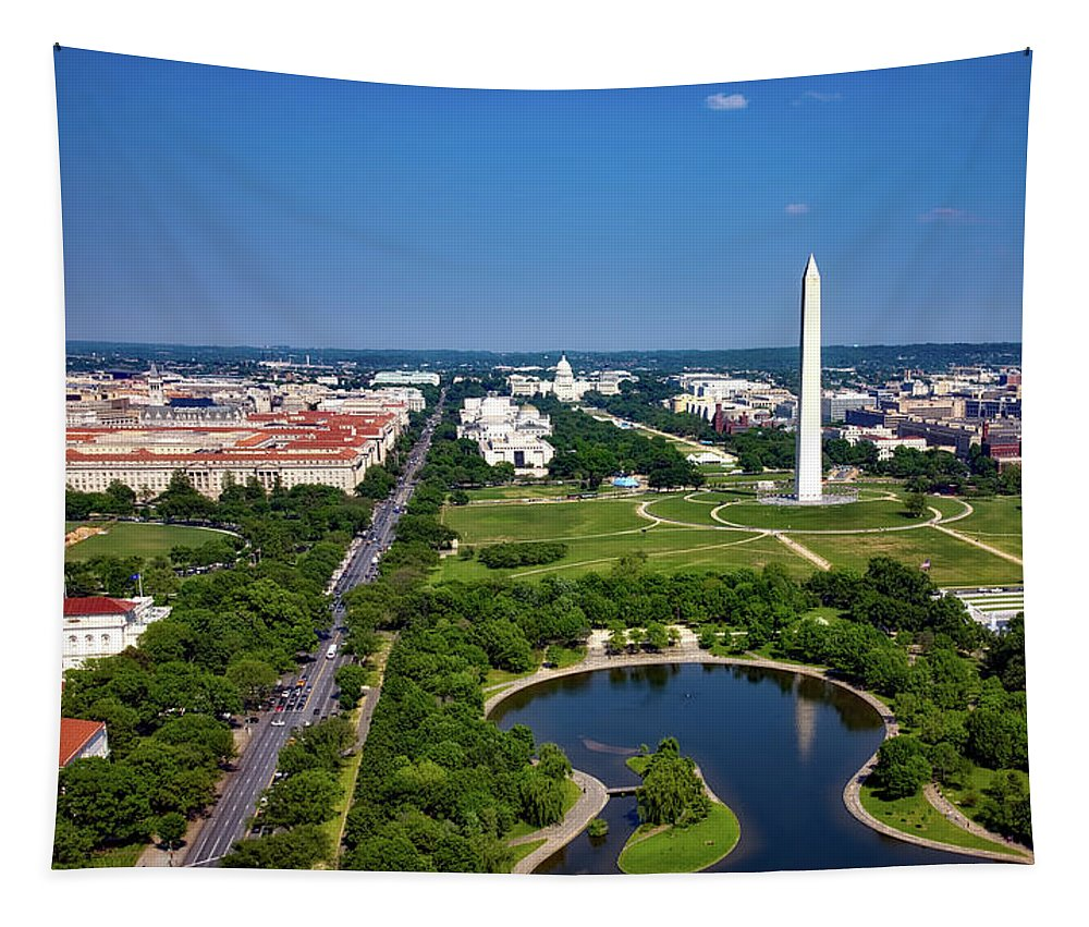 National Mall Tapestry featuring the photograph Aerial View Of The National Mall And Washington Monument by Mountain Dreams