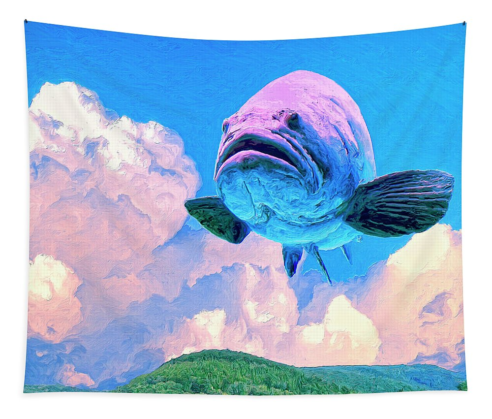 Flying Fish Tapestry featuring the painting Aero Grouper by Dominic Piperata