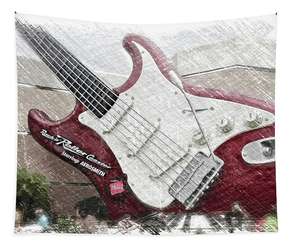 Music Tapestry featuring the mixed media Aerosmith Guitar Walt Disney World Pa 01 by Thomas Woolworth
