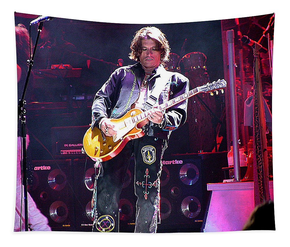 Aerosmith Tapestry featuring the photograph Aerosmith-joe Perry-00048 by Gary Gingrich Galleries