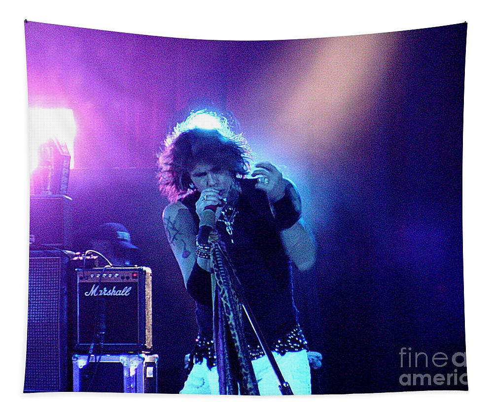 Aerosmith Tapestry featuring the photograph Aerosmith-steven Tyler-00114 by Gary Gingrich Galleries