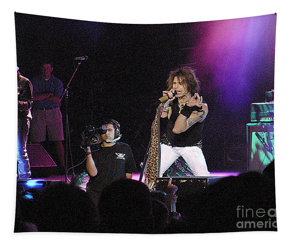 Aerosmith Tapestry featuring the photograph Aerosmith-steven Tyler-00175 by Gary Gingrich Galleries