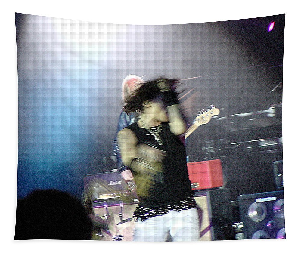 Aerosmith Tapestry featuring the photograph Aerosmith-steven Tyler-00188 by Gary Gingrich Galleries