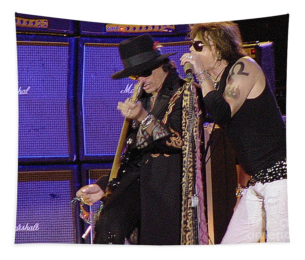 Aerosmith Tapestry featuring the photograph Aerosmith - Steven Tyler -dsc00015 by Gary Gingrich Galleries