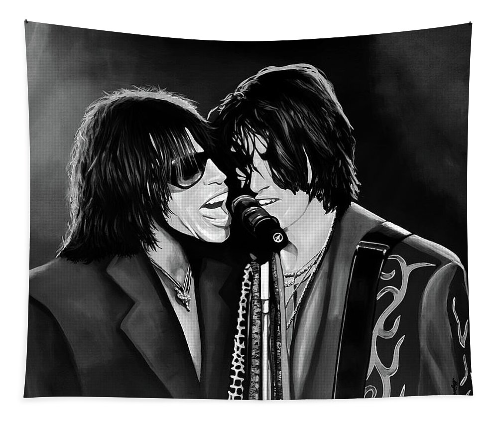 Steven Tyler Tapestry featuring the mixed media Aerosmith Toxic Twins Mixed Media by Paul Meijering