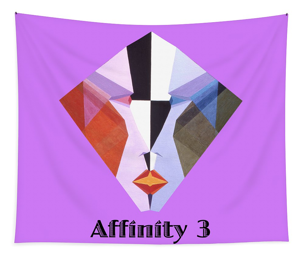 Painting Tapestry featuring the painting Affinity 3 text by Michael Bellon
