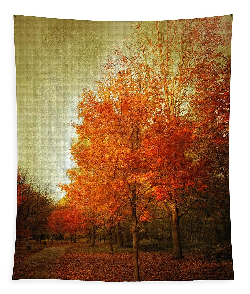 Trees Tapestry featuring the photograph Aflame by Jessica Jenney