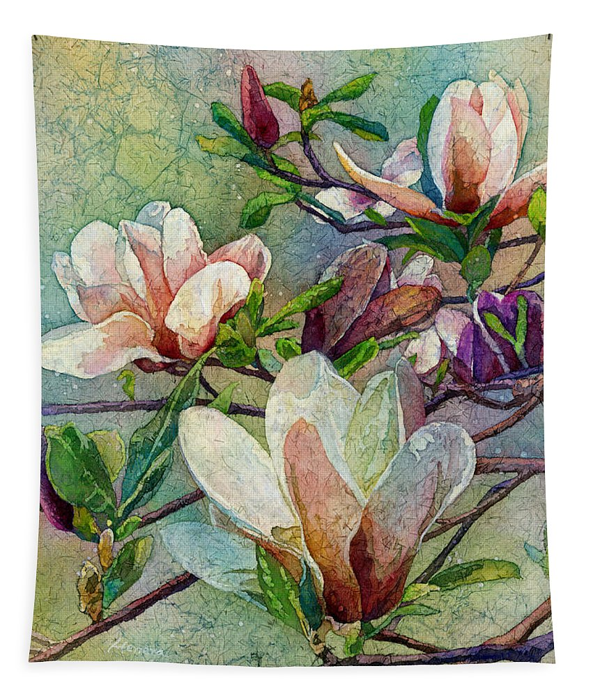 Magnolia Tapestry featuring the painting After A Fresh Rain by Hailey E Herrera