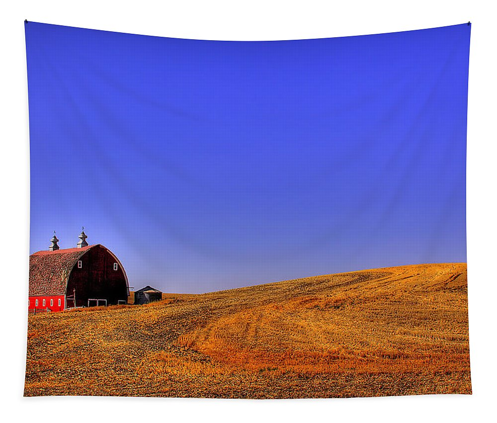 Barn Tapestry featuring the photograph After Harvest by David Patterson