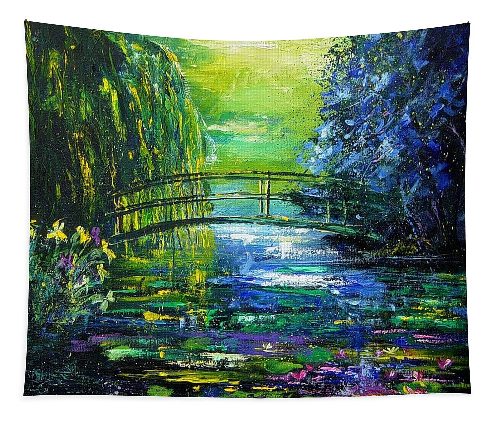 Pond Tapestry featuring the painting After Monet by Pol Ledent