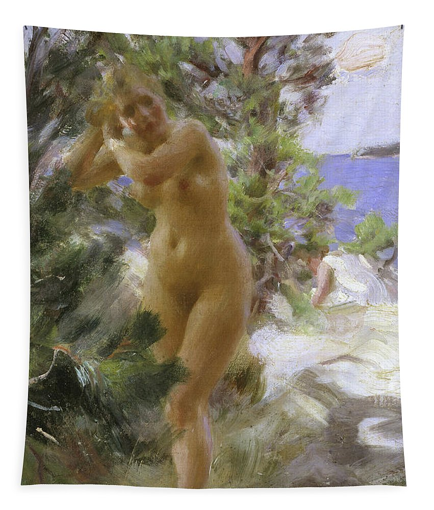 After The Bath Tapestry featuring the painting After The Bath, 1895 by Anders Leonard Zorn