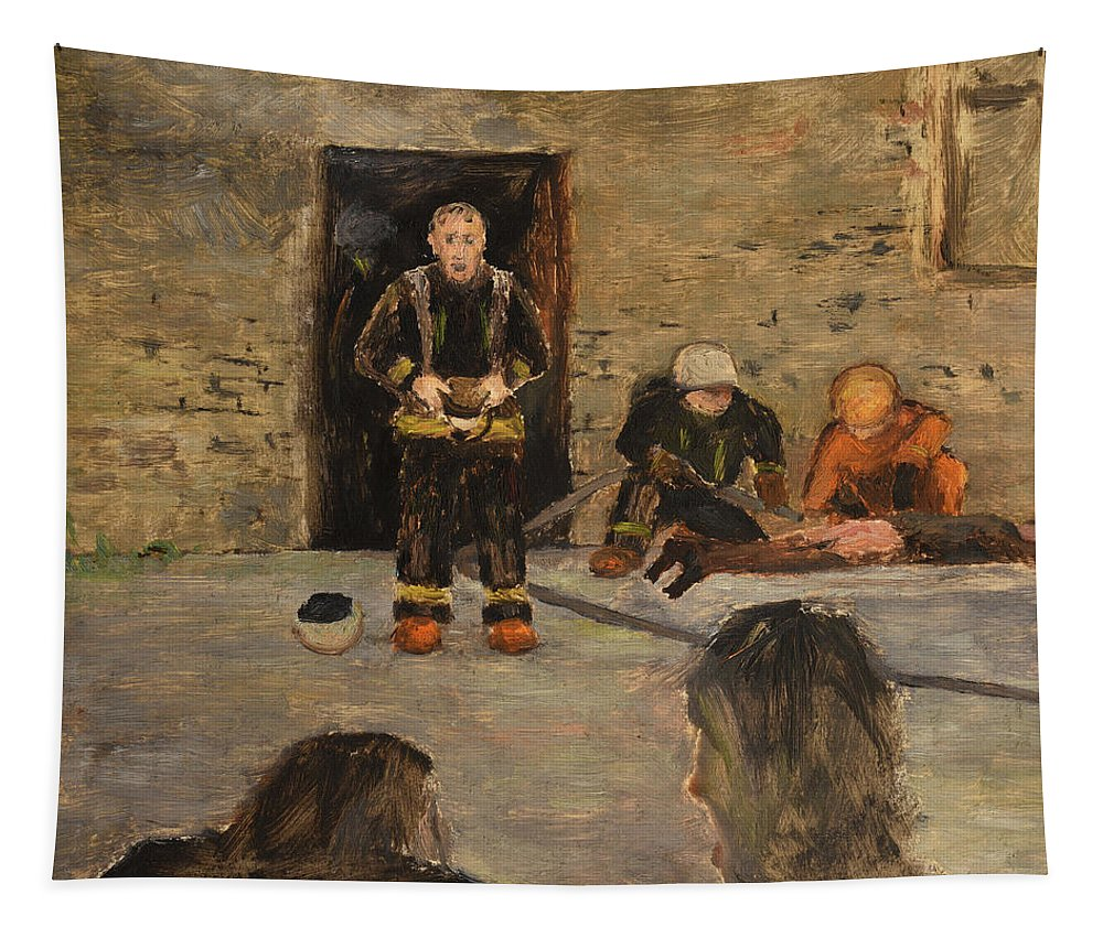 Fire Tapestry featuring the painting After The Fire by Oleg Konin