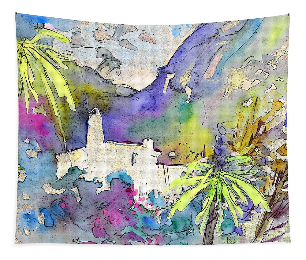 Agua Amarga Fantasy Tapestry featuring the painting Agua Amarga Fantasy 02 by Miki De Goodaboom