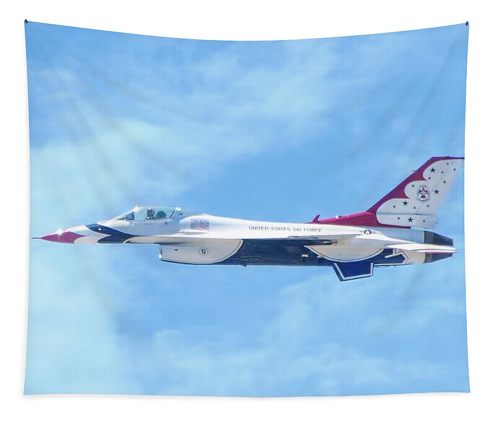 Air Force Tapestry featuring the photograph Air Force F-16 Thunderbird by Mark Andrew Thomas