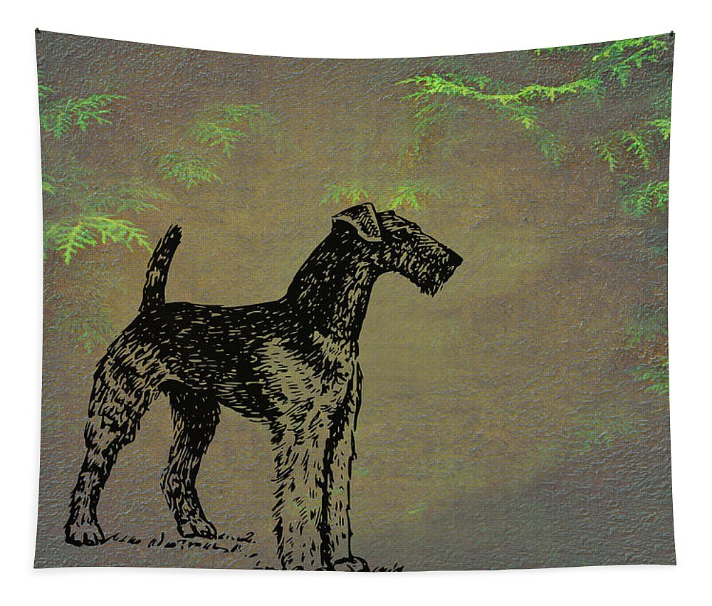 Airedale Terrier Tapestry featuring the mixed media Airedale Terrier by Movie Poster Prints