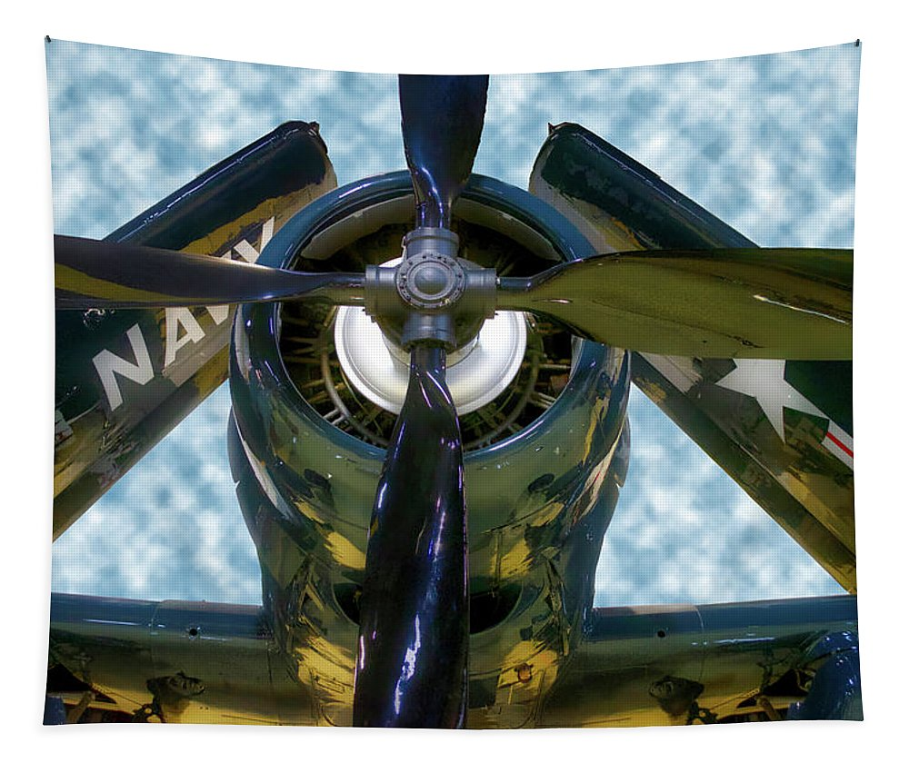 Air Zoo Tapestry featuring the mixed media Airplane Propeller And Engine Navy by Thomas Woolworth