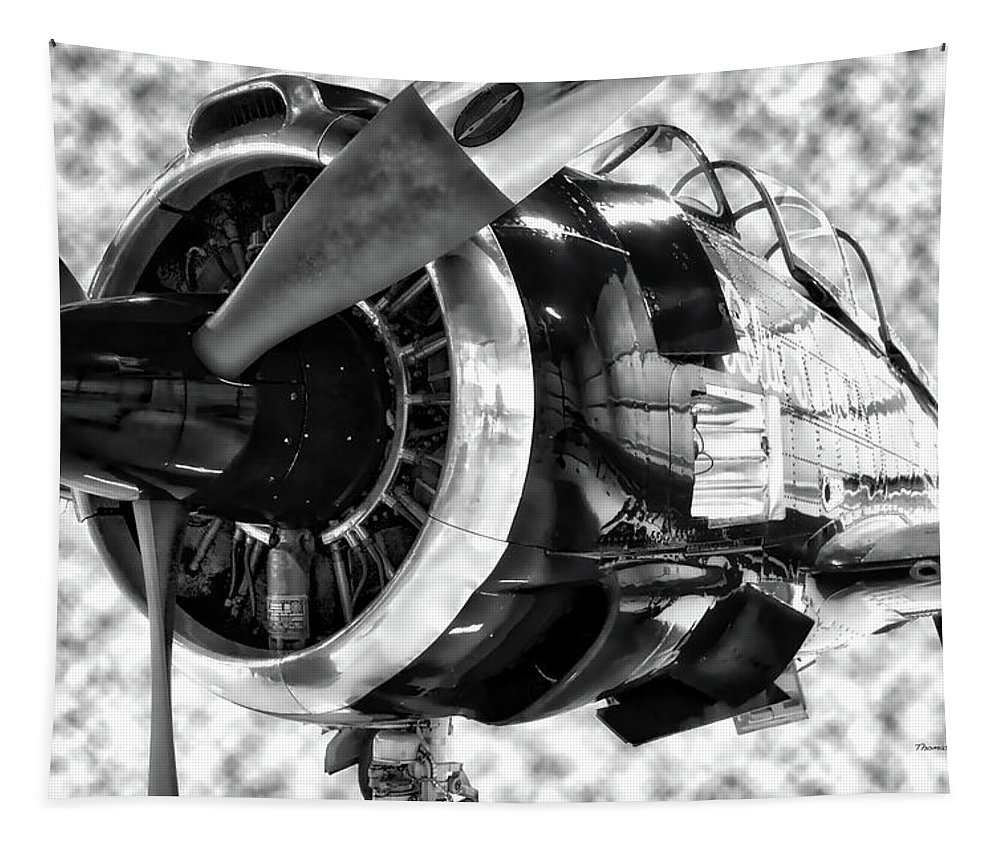 Air Zoo Tapestry featuring the mixed media Airplane Propeller And Engine T28 Trojan 02 Bw by Thomas Woolworth